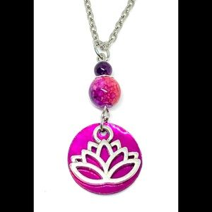 Fuchsia Pink Shell Disk Silver Open Lotus Necklace